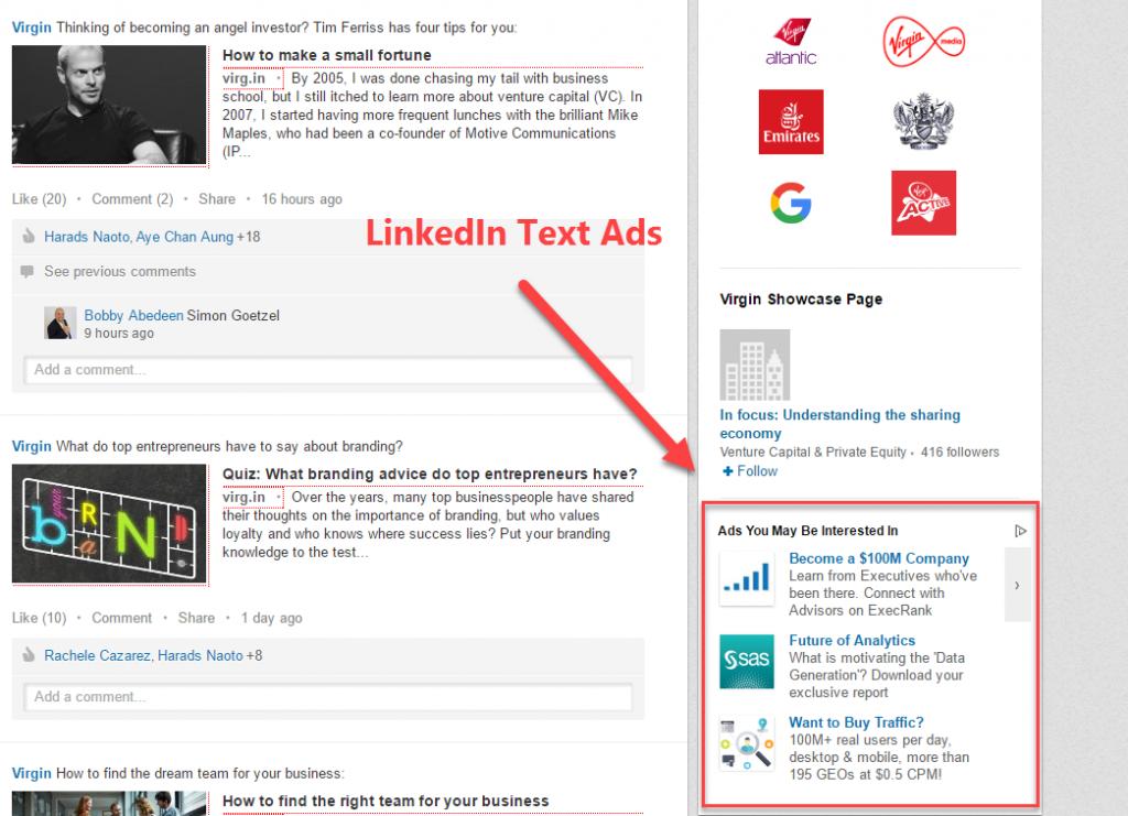 linkedin text ads